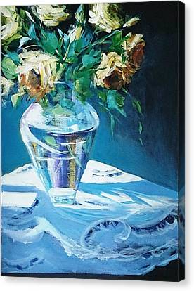 Still Life In Glass Vase Canvas Print by Kathy  Karas