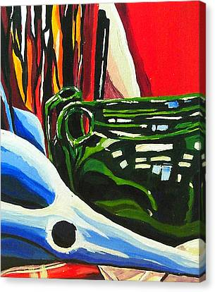 Still Life In Red Blue Green Canvas Print by Amy Williams