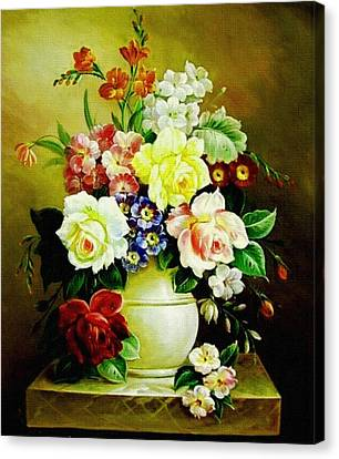 Still Life - In The Old Style H B Canvas Print by Gert J Rheeders