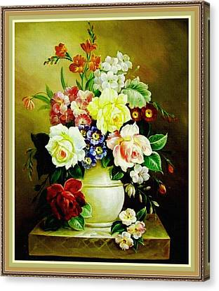 Still Life - In The Old Style H B With Decorative Ornate Printed Frame. Canvas Print by Gert J Rheeders