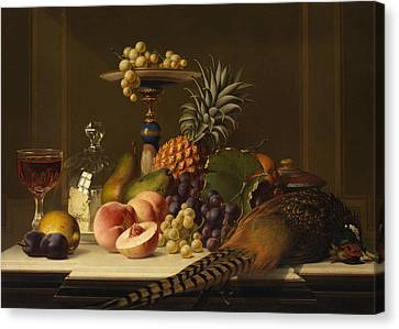 Glass Of Wine Canvas Print - Still Life by Johann Wilhelm Preyer