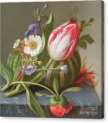 Still Life Of A Tulip, A Melon And Flowers On A Ledge Canvas Print by Rachel Ruysch