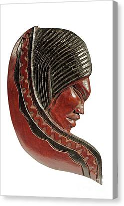 Still Life Of Brazilian Female Mask In Carved Wood Canvas Print