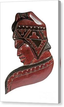 Still Life Of Brazilian Male Mask In Carved Wood Canvas Print