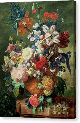 Pedestal Canvas Print - Still Life Of Flowers And A Bird's Nest On A Pedestal  by Jan van Huysum