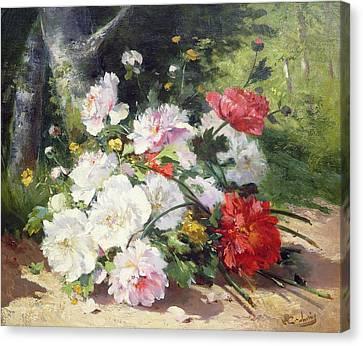 Still Life Of Flowers Canvas Print by Eugene Henri Cauchois