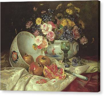 Still Life Of Flowers In A Chinese Vase With Pomegranates Canvas Print by Eugene Henri Cauchois
