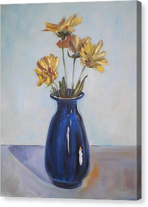 Still Life Of Flowers In Blue Vase Canvas Print