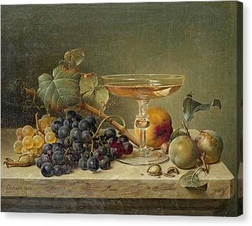Still Life Of Wine And Grapes Canvas Print - Still Life Of Fruit Nuts And A Glass On A Marble Ledge by Johann Wilhelm Preyer