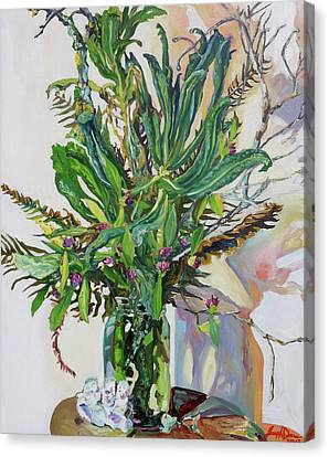 Still Life Of Kale, Fallen Twigs And Other Things That Survived The Storm Canvas Print