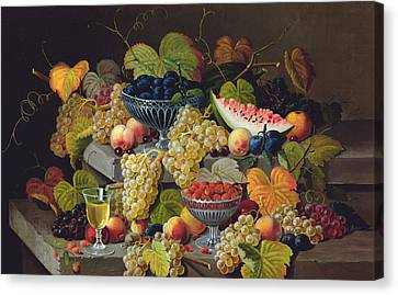 Glass Of Wine Canvas Print - Still Life Of Melon Plums Grapes Cherries Strawberries On Stone Ledge by Severin Roesen