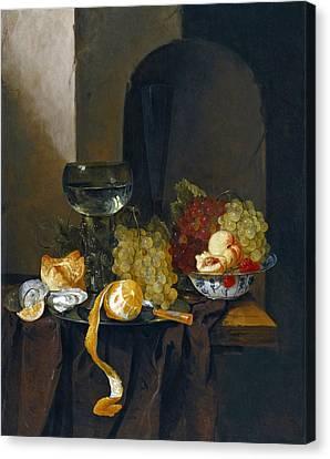 Still Life Of Wine And Grapes Canvas Print - Still-life Of Oysters Grapes Wine And Other Fruits by Jacques de Claeuw