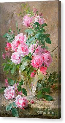 Still Life Of Roses In A Glass Vase  Canvas Print by Frans Mortelmans