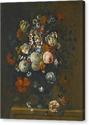 Still Life Of Roses Variegated Tulips Peonies Daffodils And Other Flowers In A Sculpted Vase Canvas Print by Simon Hardime