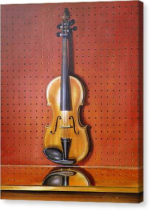 Still Life Of Violin Canvas Print by RB McGrath