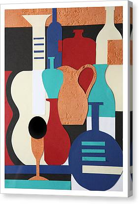Still Life Paper Collage Of Wine Glasses Bottles And Musical Instruments Canvas Print by Mal Bray
