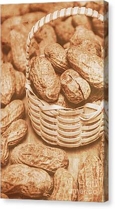 Pods Canvas Print - Still Life Peanuts In Small Wicker Basket On Table by Jorgo Photography - Wall Art Gallery