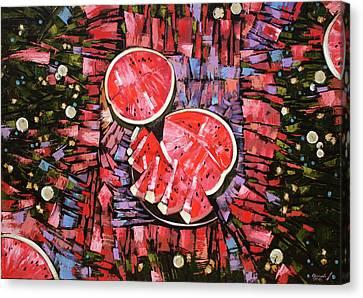 Canvas Print featuring the painting Still Life. The Taste Of Summer. by Anastasija Kraineva