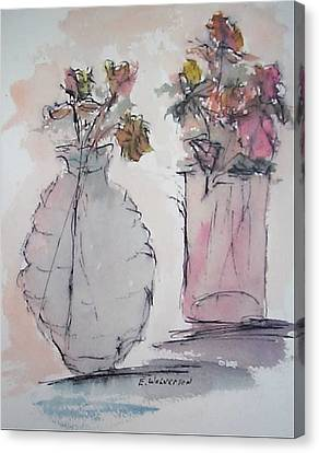 Still Life- Vase With Flowers Canvas Print by Edward Wolverton
