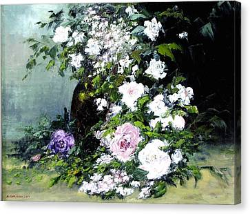 Still Life W/flowers Canvas Print