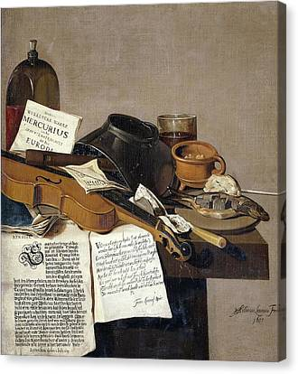 Broadsheet Canvas Print - Still Life With A Copy Of De Waere Mercurius A Broadsheet With The News Of Tromps Victory Over Three by R Muirhead Art