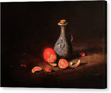 Still Life With A Little Dutch Jug Canvas Print by Barry Williamson