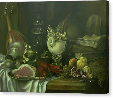 Canvas Print featuring the painting Still-life With A Lobster by Tigran Ghulyan