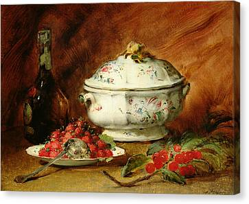 Still Life With A Soup Tureen Canvas Print by Guillaume Romain Fouace