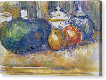 Still Life With A Watermelon And Pomegranates Canvas Print by Paul Cezanne