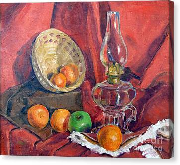 Still Life With An Oil Lamp Canvas Print by Susan Lafleur