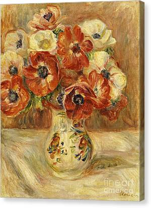 Still Life With Anemones  Canvas Print by Pierre Auguste Renoir