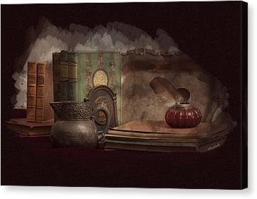 Still Life With Antique Books, Silver Pitcher And Inkwell Canvas Print