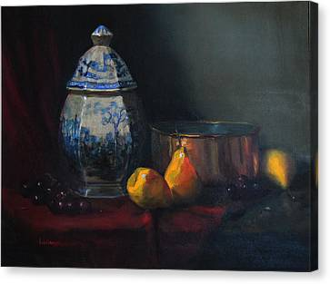 Still Life With Antique Dutch Vase Canvas Print by Barry Williamson