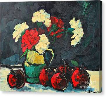 Still Life With Apples And Carnations Canvas Print by Ana Maria Edulescu