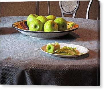 Produce Canvas Print - Still Life With Apples And Chair by Lynda Lehmann