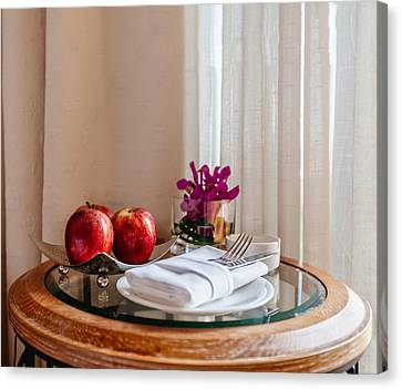 Still Life With Apples And Cutlery On The Table Canvas Print by Sergey Nosov