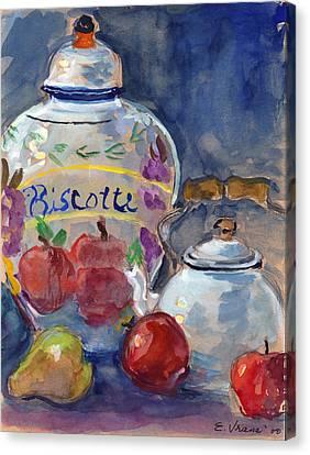 Still Life With Apples And Tea Kettle Canvas Print by Ethel Vrana
