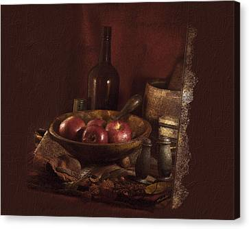 Still Life With Apples, Bottles, Baskets And Shakers. Canvas Print