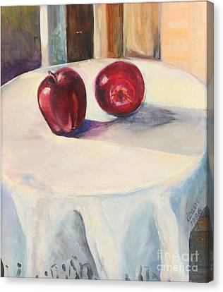 Still Life With Apples Canvas Print by Daun Soden-Greene