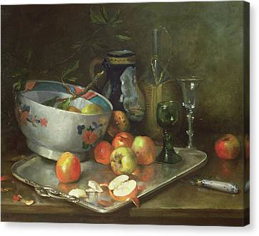 Still Life With Apples Canvas Print by Eugene Henri Cauchois