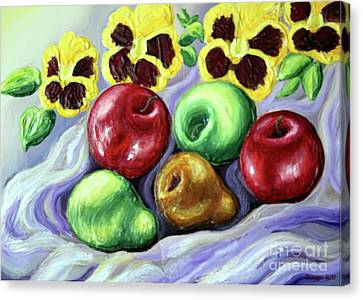 Canvas Print featuring the painting Still Life With Apples by Inese Poga