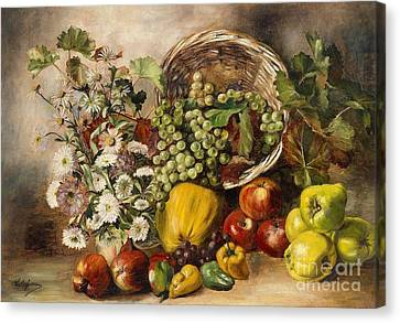 Still Life With Asters And Basket Of Fruit Canvas Print by Celestial Images