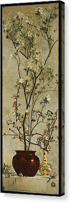 Still Life With Azaleas And Apple Blossoms Canvas Print by Charles Caryl