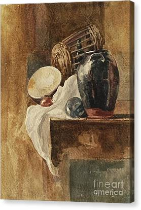 Still Life With Basket And Pitcher Canvas Print by MotionAge Designs