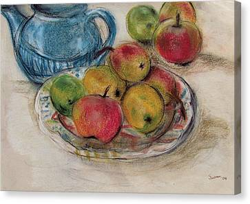 Still Life With Blue Teapot 2 Canvas Print by Susan Adams