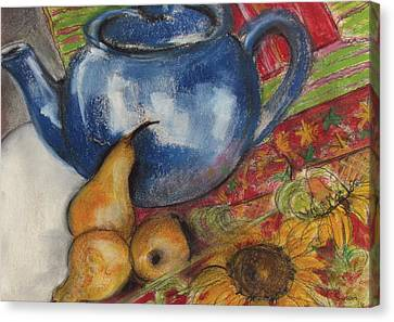 Still Life With Blue Teapot One Canvas Print by Susan Adams