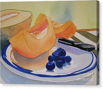 Still Life With Blueberries Canvas Print by Teresa Boston