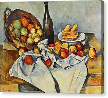 Still Life With Bottle And Apple Basket Canvas Print by Paul Cezanne