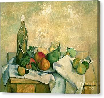 Still Life With Bottle Of Liqueur Canvas Print by Paul Cezanne