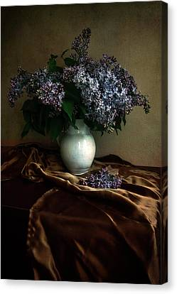 Canvas Print featuring the photograph Still Life With Bouqet Of Fresh Lilac by Jaroslaw Blaminsky